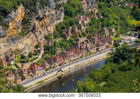 La Roque-Gageac, Dordogne, France - August 13, 2019: La Roque-Gageac scenic village on the Dordogne river, France