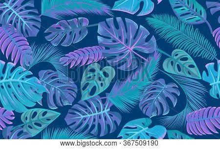 Vector Tropical Leaves On Dark Background. Exotic Botanical Seamless Pattern. Vector Backdrop With P