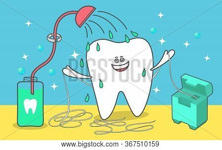 Cartoon Tooth Is Taking A Shower With A Mouthwash And Dental Floss. Flossing, Rinsing, Cleaning Teet