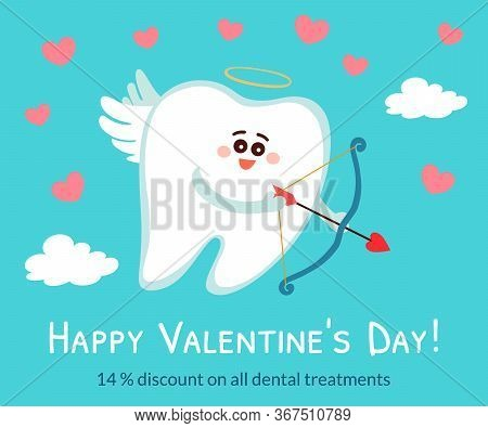 Cartoon Tooth In The Role Of A Cupid, Angel, Amour With Bow And Arrow In The Sky. Happy Valentine's