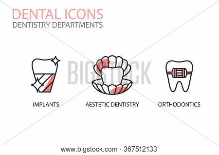 Dental Icons. Implants, Aesthetic Dentistry And Orthodontics, Isolated On White. Dentistry Departmen