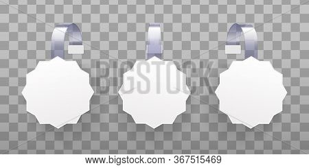 3d Blank White Round Wobbler. White Blank Advertising Wobblers Isolated On Transparent Background. C