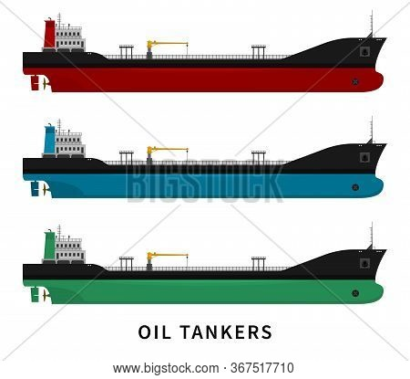 Flat Vector Illustration Set Isolated Of Cargo Ship With Fuel And Petroleum Transport Import Export