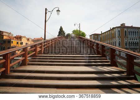 Bridge Made Of Wood Called Accademia Which Means Of The University Of The Island Of Venice In Italy