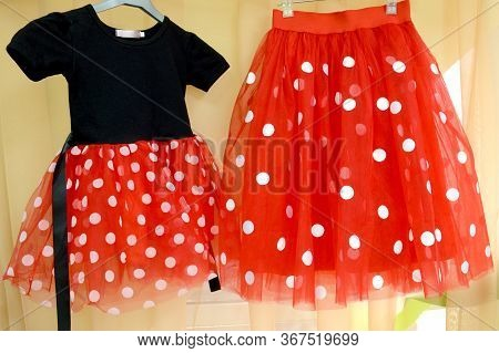 Red Tulle Skirt With White Satin Circles On A Wide Red Elastic Band. Little Black Dress In A Red Ski