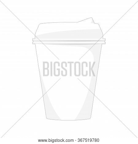 Cartoon Mockup Paper Cup For Coffee, White Cup For Tea. Disposable Cup For Coffee. Vector Illustrati