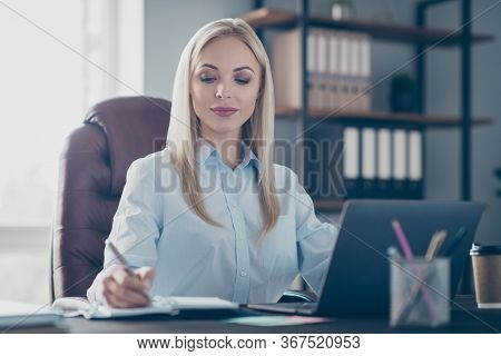 Photo Of Attractive Self-confident Business Lady Notebook Table Read Corporate Report Insurance Agen