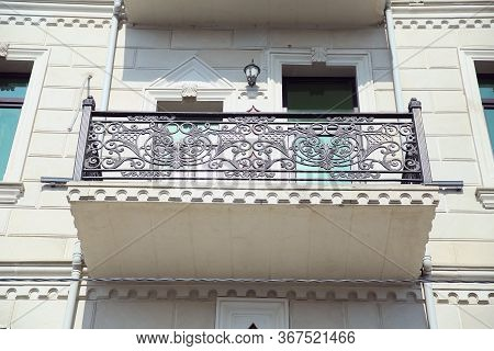 Balconies And The Walls White . Window Balcony On A Stone Building . Elegant Decorative Old Stone Ba