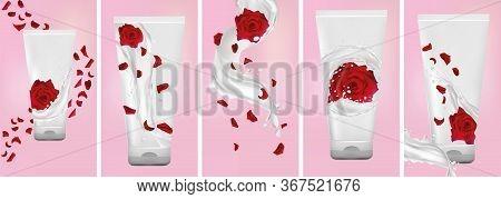 Rose Hand Cream, Milk Splash With Flower Rose. Set Design Package Cream. Flying Rose, Petals And Spl