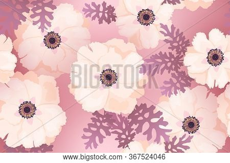 Pale Pink Peonies Background Vector Seamless Pattern. Romantic Garden Flowers Illustration. Faded Co