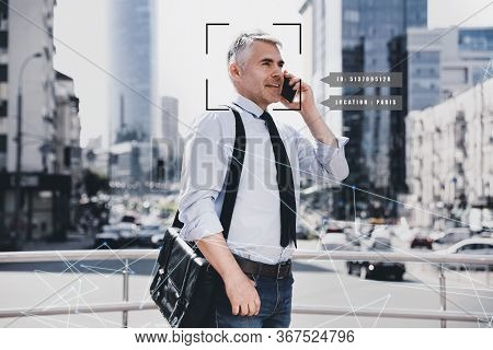 People Search By Facial Recognition. Man Outdoors With Scanner Frame On Face And His Private Informa