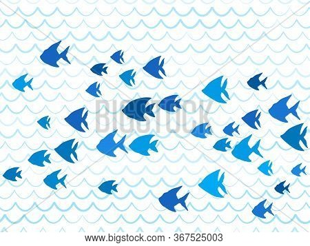Blue School Of Fish Swimming Pattern Vector Print. Ocean Or Sea Waves, Curve Stripes Background. Sho