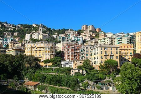 Aerial View Of Genoa City Center, Liguria, Italy