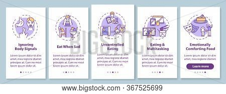 Bad Eating Habits Onboarding Mobile App Page Screen With Concepts. Uncontrolled Eating, Ignoring Bod