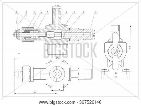 Technical Drawing As Background. Plan Of Mechanism