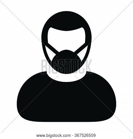 Mask Icon Vector Person Profile Male Avatar Symbol For Medical And Health Care Protection In A Glyph
