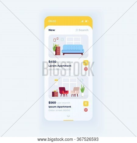 Apartment Different Expenses Smartphone Interface Vector Template. Mobile App Page White Design Layo