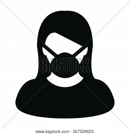 Virus Mask Icon Vector Person Profile Female Avatar Symbol For Medical And Health Care Protection In