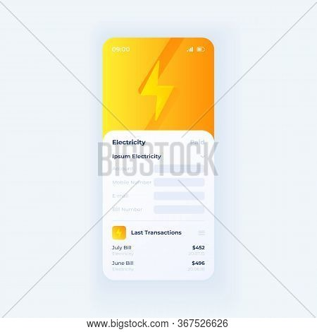 Electricity Taxes Smartphone Interface Vector Template. Mobile App Page White Design Layout. Utility