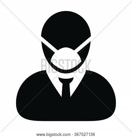 Virus Protection Icon Vector For Safety Person Profile Male Avatar Symbol For Medical And Health Car