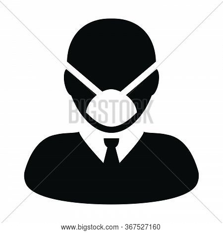Wearing Mask Icon Vector For Virus Safety Protection Person Profile Male Avatar Symbol For Medical A