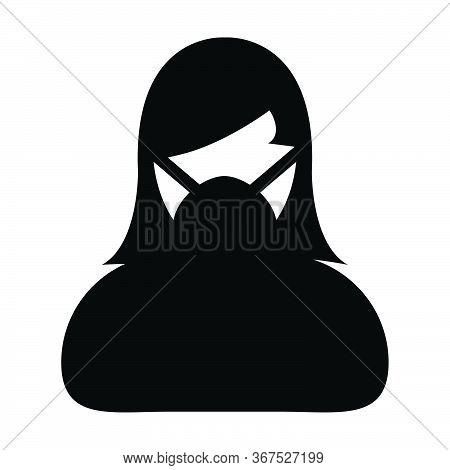 Virus Mask Icon Vector For Safety Protection Person Profile Female Avatar Symbol For Medical And Hea
