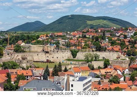 Aerial View Eger, Hungarian Country Town With Historic Medieval Castle