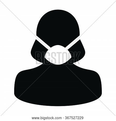 Surgical Mask Icon Vector Person Profile Female Avatar Symbol For Medical And Health Care Protection
