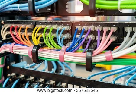 thernet cables and network switching hub LAN system communication.