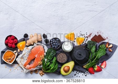 Assortment Of Healthy Feel Good Food, Superfood Ingredients For Stress, Anxiety, Chronic Fatigue, De