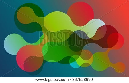 Abstract Connected Circles Vector Banner Background. Geometric Liquid Fluid Shapes. Modern Design. D