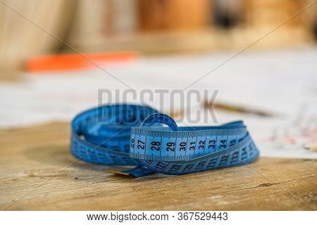 Measuring Tape. Selective Focus With Blurred Background. Tailor S Work. Tailor Concept. Close-up.
