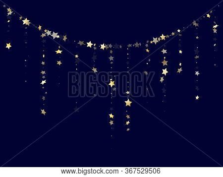 Gold Gradient Star Dust Sparkle Vector Background. Shiny Gold Star Sparkles Dust Elements On Dark Bl