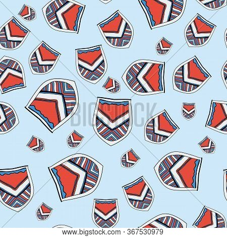 Heraldic Symbols. The Seamless Pattern Consists Of Stylized Coat Of Arms And European Swords. A Good