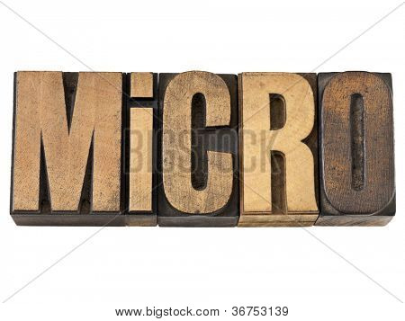 micro word (one millionth prefix or smaller than average scale) - isolated text in vintage letterpress wood type