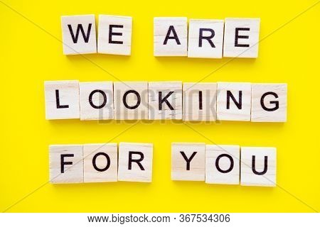 Words We Are Looking For You On Yellow Background. Job Board. Human Resource Management And Recruitm
