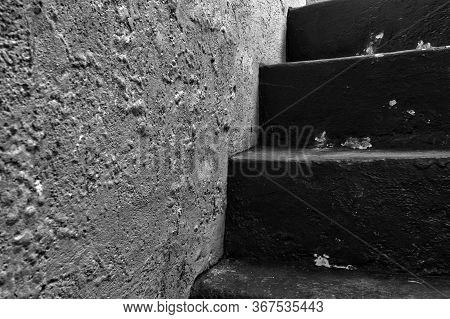 Old Historic Dungeon Or Basement Stairs, Abandoned Stairs Close-up Background Black And White