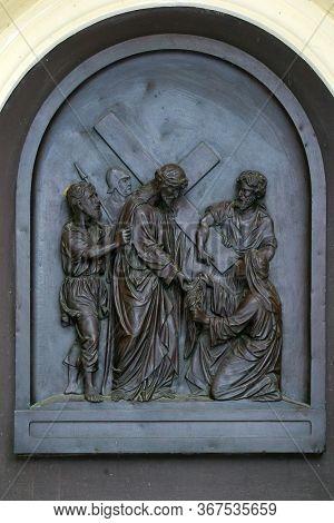 ZAGREB, CROATIA - NOVEMBER 12, 2012: 6th Stations of the Cross, Veronica wipes the face of Jesus, St Francis Xavier's Church in Zagreb, Croatia