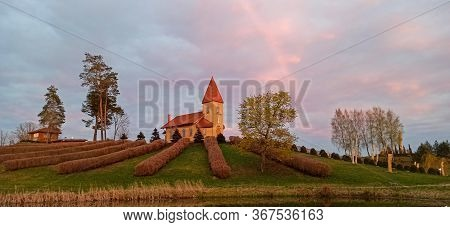 The Church Of The Christ The King Hill Sculpture Park In The Aglona, Latvia A Beautiful Nature Park