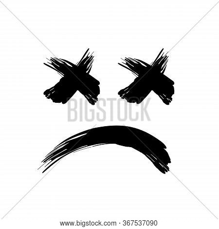 Grunge Black Abstract Textured Vector Smile. Vector Design Element. Vector Abstract Face Paintbrush.