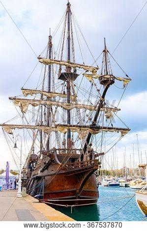 Barcelona, Spain - November 07 2018: El Galeon Ship, A 17th Century Spanish Galleon Replica Vessel F