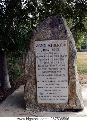 Mareeba, Queensland/australia-may 4, 2020:  A Memorial Stone Dedicated To John Atherton 1837 - 1913.