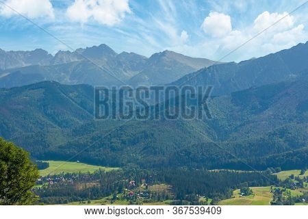 High Tatra Mountain Ridge. Poland Travel Destination. Beautiful Summer Landscape In Evening Light. S