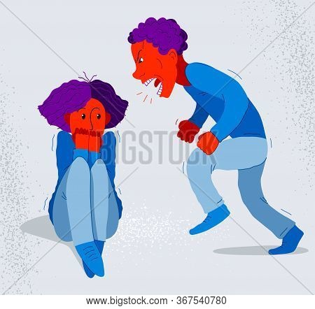Abusive Husband Vector Illustration, Bad Family Man Scream And Shout On Scared Woman His Wife, Domes