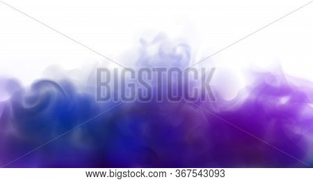Dark Blue Fog On White Background. Blue Blurry Abstract Background. Copy Space. Stock Vector Illustr