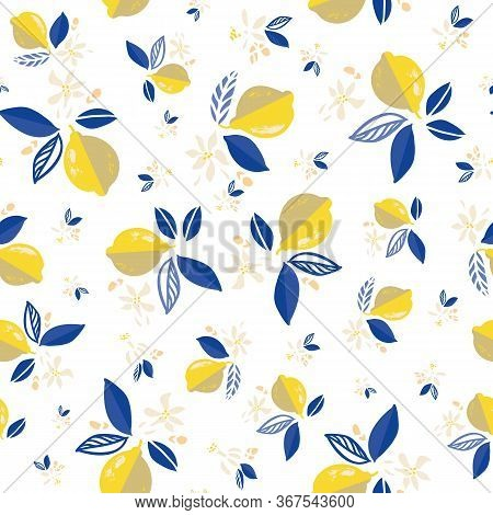 Vector Citrus Floral Mediterranean Summer Lemon Repeating Pattern. Hand Drawn Textured Citrus Fruit