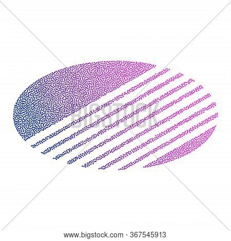 Colored Abstract Circular Logo Form Of Dots And Blue-red Gradient. Neon Graphic, Light Effect.
