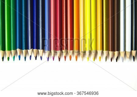 Crayons. Colorful Pencils Isolated On White Background. Back To School Concept.