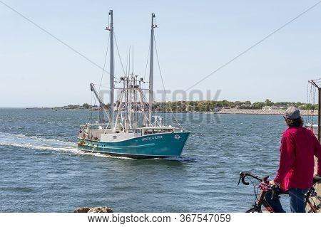 New Bedford, Massachusetts, Usa - May 21, 2020: Scalloper Crystal & Katie, Hailing Port Poquoson, Va