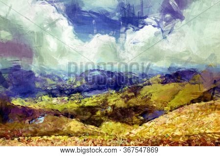 Loose stroke digital painting of the hills, lakes and mountains of Snowdonia, North Wales, UK.
